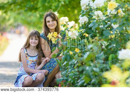 Mom And Daughter Sit In The Park Near The Bush With Roses