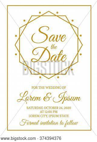 Save The Date Card Template. Gold Wedding Invitation. Minimalist Geometric Design Party Invite. Vect