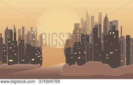 Scorched By The Sun, A Scorched City. Skyscrapers In A Lifeless Desert. Vector Image
