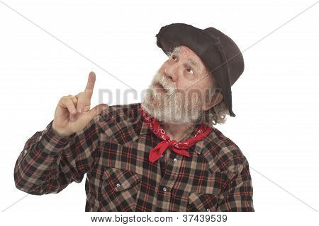 Old West Cowboy With Felt Hat And Whiskers Points Up