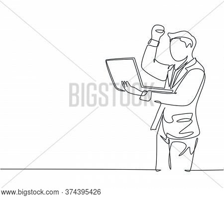 One Single Line Drawing Of Young Happy Ceo Holding A Laptop To Read Business Contract Agreement. Bus