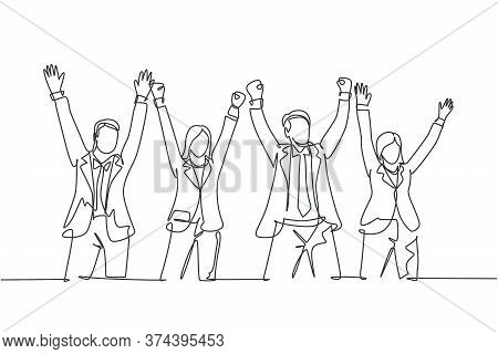 One Single Line Drawing Of Group Of Male Manager And Female Manager Hold The Hands Each Other To Cel