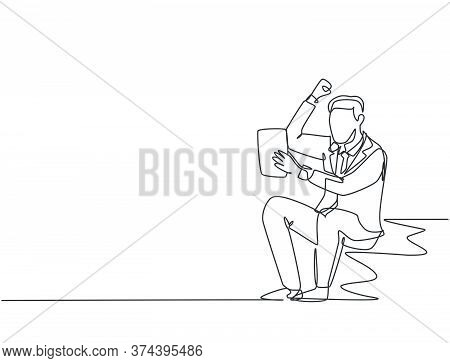 One Single Line Drawing Of Young Happy Ceo Holding A Paper Containing Business Contract Agreement. B