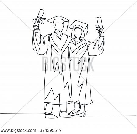 One Continuous Line Drawing Of Young Happy Couple College Student Show Their Graduation Roll Letter