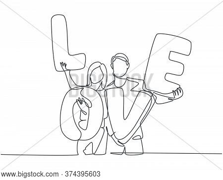 One Single Line Drawing Of Young Happy Couple Man And Woman Holding Love Letter Balloon After Propos