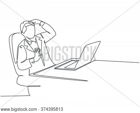 One Single Line Drawing Of Young Depressed Manager Trauma Of The Computer Because His Overload Worki