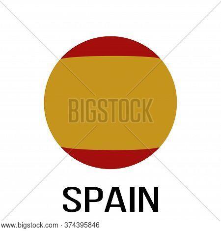 Spain Flag In Circle. Spain Flag. National Spain Flag. Flag Background. Vector Illustration.