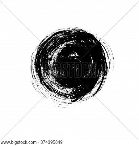Vector Black Paint, Ink Brush Stroke Circle Shape. Dirty Grunge Design Round Element Or Background F
