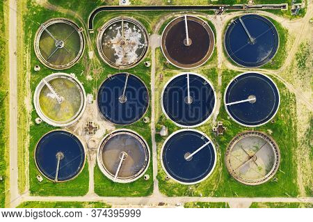 Aerial Top Aerial View Of Purification Tanks Of Modern Wastewater Treatment Plant.