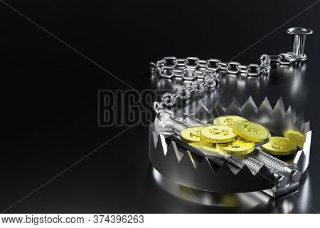 The Gold Dollar Coin Is Bait In A Bear Trap And The Trap Is Chained By An Iron Chain To An Anchor In