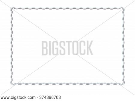 Rectangle Realistic Frame Metal Or Silver Waves. Slender On White Background. Steel, Photoframe Temp