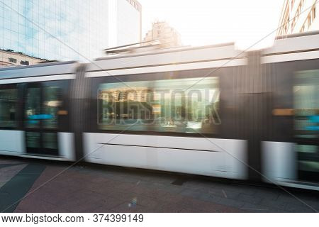 Public Transport Tram Motion Blur In Rio De Janeiro City Downtown By Sunset
