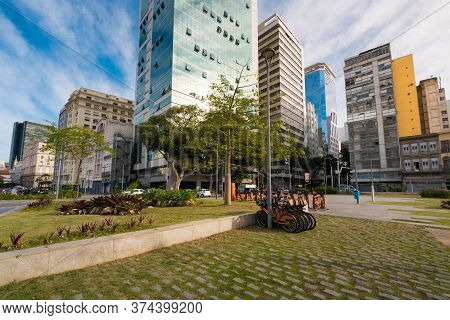 Small Square In Rio De Janeiro City Downtown With Buildings Around