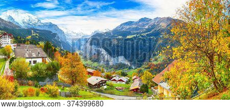 Stunning Autumn View Of Picturesque Alpine Village Wengen With Jungfrau Mountain And Lauterbrunnen V