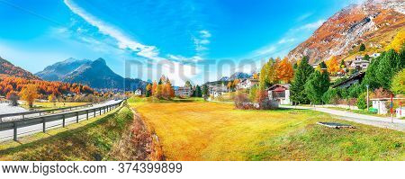 Awesome Autumn Scene In Maloja Village And Asphalt Road On The Shore Of Sils Lake(silsersee). Locati