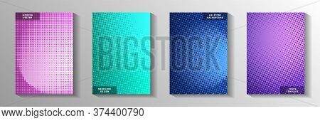 Trendy Dot Faded Screen Tone Cover Templates Vector Series. Corporate Notebook Perforated Screen Ton