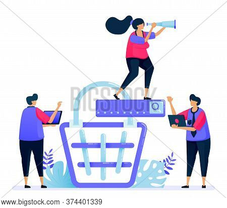 Vector Illustration For Online Product Shopping Cart Search. E Commerce And Checkout On The Marketpl