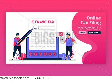 Vector Illustration Of Filing And Payment Of Income Tax With Online Forms. Digital Tax Reporting Wit