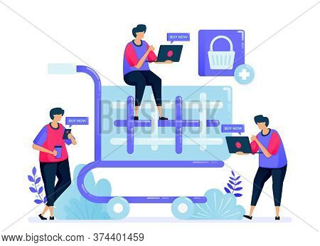 Vector Illustration For Simple Shopping Cart And Trolley. Checkout Button For Online Shop, Ecommerce