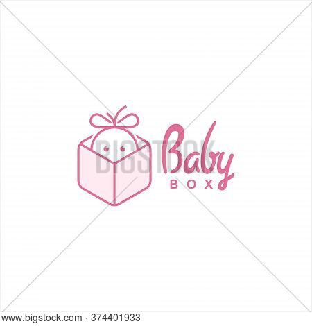 Child Care Logo Playful Baby In The Box Vector. Design Template Gift Icon Inspiration