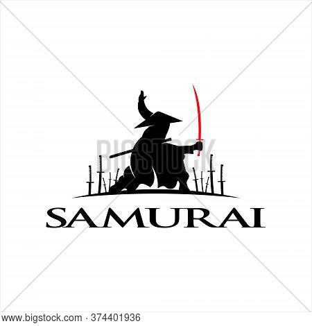 Samurai Logo Design Idea Legendary Army Illustration Sticker Inspiration. Warrior Icon Idea