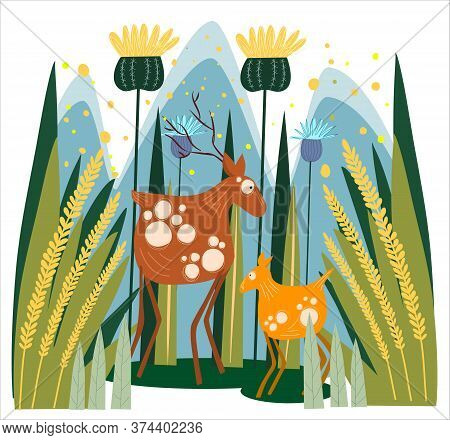 Illustration Of A Deer And Young Deer Fawn In A Spring Forest. Cartoon Style