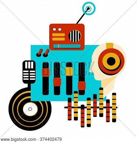 The Banner For The Radio In A Flat Style With A Radio Receiver , And Devices. Radio Broadcasting Con