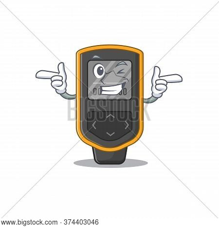 Caricature Design Concept Of Dive Computer With Funny Wink Eye