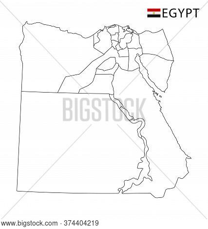 Egypt Map, Black And White Detailed Outline Regions Of The Country.