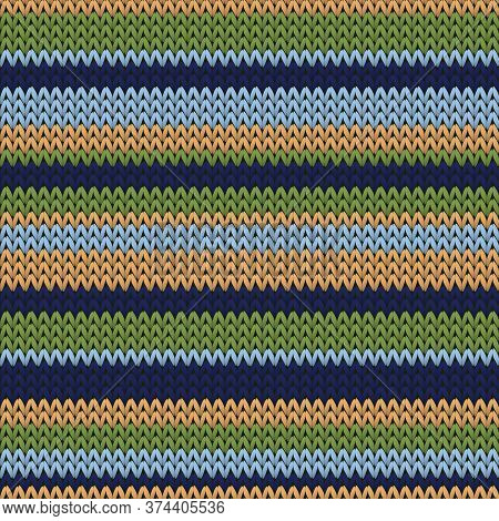 Handmade Horizontal Stripes Christmas Knit Geometric Seamless Pattern. Jumper Knitwear Fabric Print.