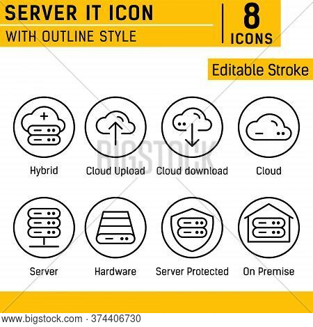 Server It And Technology Icon Set. Vector Linear Icon With Line Style On Isolated White Background.