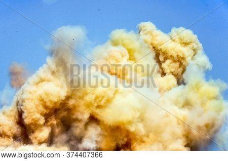 Toxic Dust Fumes Of Detonator Blasting On The Mining Site