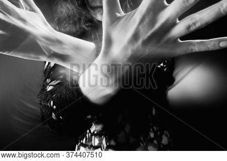 Supernatural Energy. Occult Practice. Mysterious Woman Hands Spiritual Performance On Gray With Moti