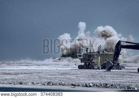 Industrial Detonator Blasting On The Construction Site In The Oman