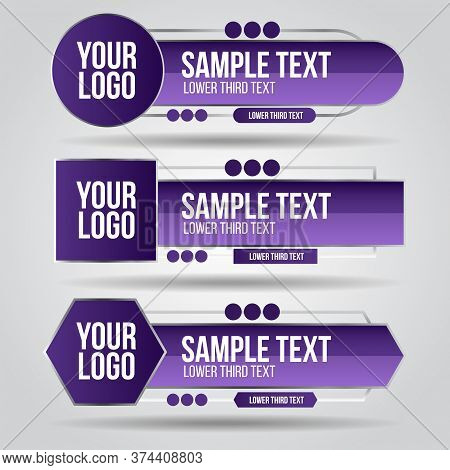 Lower Third Purple And Grey Color Design Tv Template Modern Contemporary. Set Of Banners Bar Screen