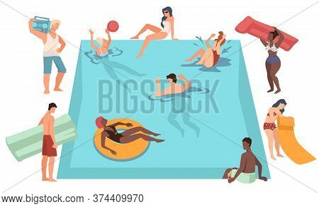 People Relaxing By Poolside, Women And Men On Vacation