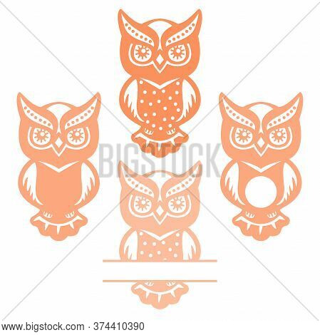 Vector Owl, Hand Drawn Simple Illustration In Childish Style. Isolated Element, Forest Bird With Cir
