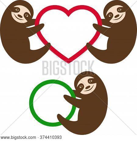Smiling Sloth On The Circle, Heart Shaped Monogram Frame.  Hand Drawn Vector Childish Illustration W