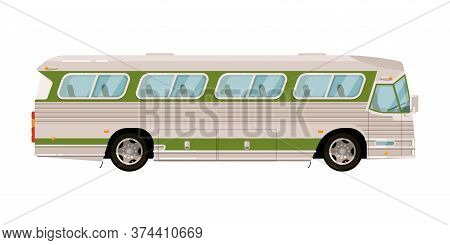 Shuttle Bus. Urban Road Transport Icon Isolate On White Background. Vector Shuttle Bus Commuter Side