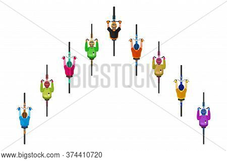 Cyclist Race. Isolated Cycling Bicyclist Icon Set. Top View Of Cyclists People In Helmets Riding Bik