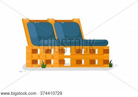 Garden Bench. Isolated Wooden Bench With Cushions Icon. Comfortable Outside Couch Seat. Vector Garde