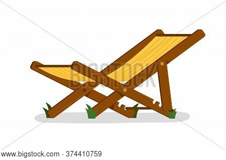 Deck Chair. Isolated Outside Folding Deck Chair Icon. Wood And Cloth Chaise Longue. Vector Garden Or