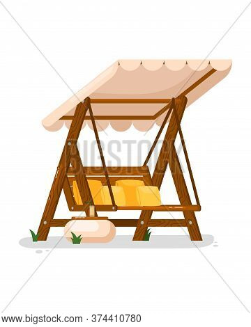 Garden Swing. Isolated Outside Wooden Swing Bench Seat With Cushions, Canopy And Table Icon. Vector