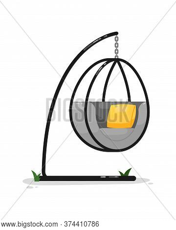 Hanging Chair. Isolated Outside Contemporary Chair Seat Hanging On Metal Rack With Cushions Icon. Ve