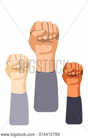 Raised Fist Set. Isolated Person Strong Clenched Hand Symbol. Raised Human Fist Gesture Icons. Vecto