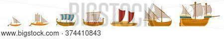 Vintage Sailboats Set. Isolated Cartoon Vintage Wooden Sail Boat Ship Icon Collection. Vector Old Na