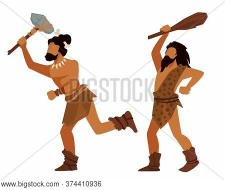Animal Hunters In Prehistoric Times, Ancient People With Weapon