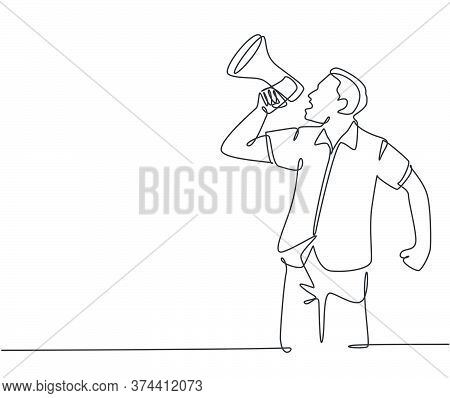 Single Continuous Line Drawing Of Young Eagerness Businessman Shouting Loudly Using Megaphone To Tra