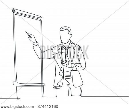 One Continuous Line Drawing Of Businessman Presenter Drawing Graph Chart On Screen Board While On Me