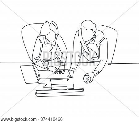 One Continuous Line Drawing Of Young Businessman And Businesswoman Talking New Product Launch While